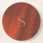 Custom Cherry Wood Monogram Coaster