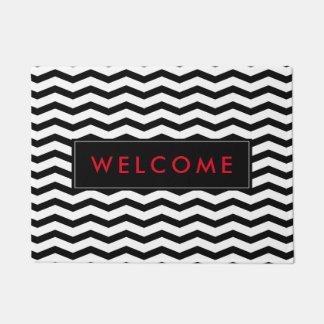 Custom chevron zigzag stripe welcome doormat