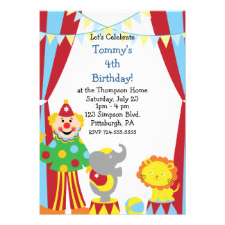 Custom Child Circus Birthday Party Personalized Announcements