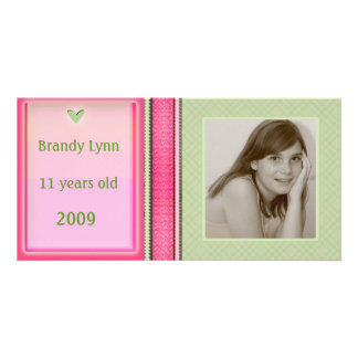 Custom Child / Family Pink & Green Photo Card