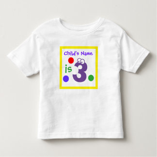 Custom child's name third 3rd Birthday, Toddler T-Shirt