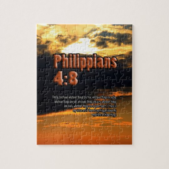 CUSTOM CHRISTIAN BIBLE VERSE PHILIPPIANS 4:8 JIGSAW PUZZLE