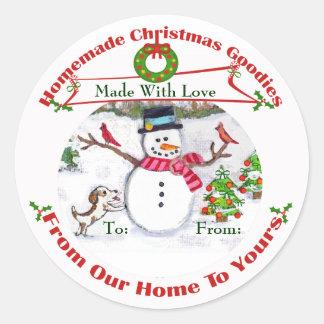 Custom Christmas Baked Goods Snow Stickers