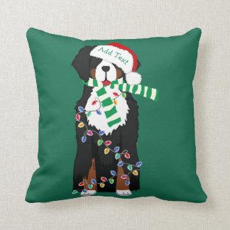 Custom Christmas Bernese Mountain Holiday Dog Cushion