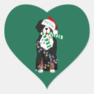Custom Christmas Bernese Mountain Holiday Dog Heart Sticker