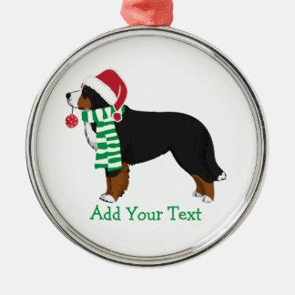 Custom Christmas Bernese Mountain Holiday Dog Metal Ornament