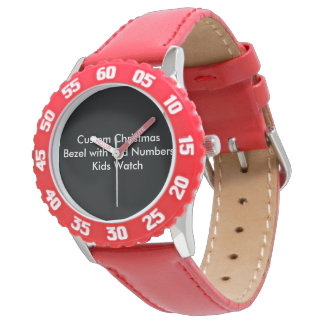 Custom Christmas Bezel with Red Numbers Kids Watch