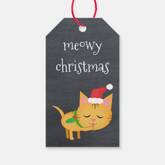 Custom Christmas Cat on Chalkboard Gift Tags