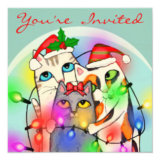 Custom Christmas Cute Santa Cats Party Invitation