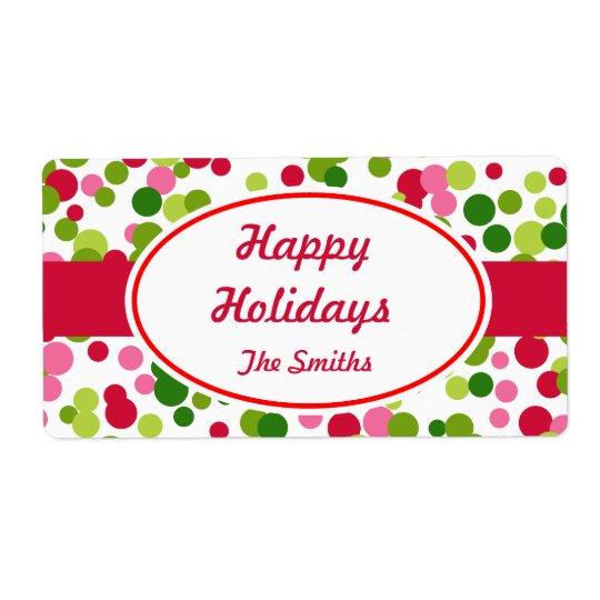 Custom Christmas Dots Label Shipping Label