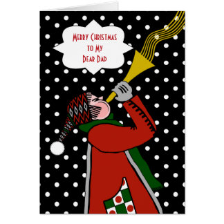 Custom Christmas for Dad, Trumpet and Snowstorm Card