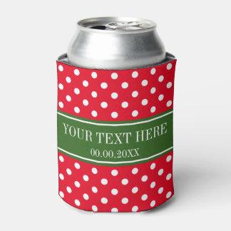 Custom Christmas Holiday polka dots can coolers