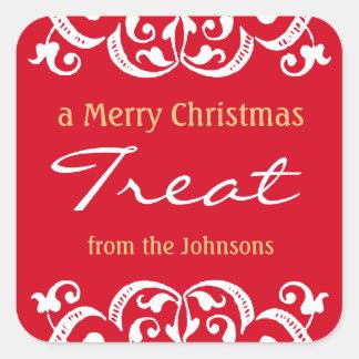 Custom Christmas Holiday Treat v3 Square Sticker