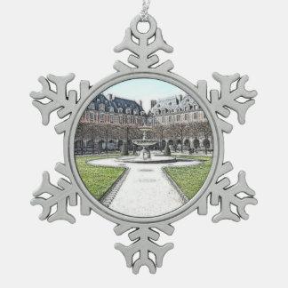 Custom Christmas Place Des Vosges Paris Pewter Snowflake Decoration
