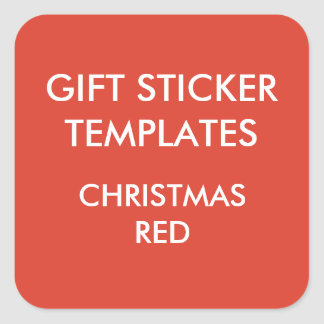 Custom CHRISTMAS RED SQUARE Large Gift Stickers