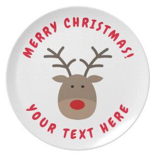 custom christmas reindeer melamine dinner plates