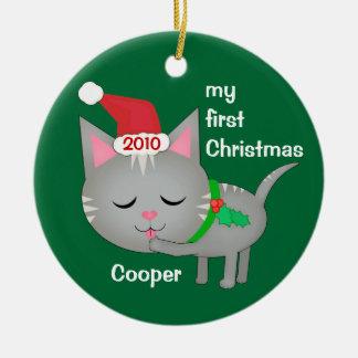Custom Christmas Santa Cat / Kitten Ornament