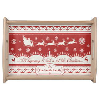 Custom Christmas Santa Sleigh Serving Tray