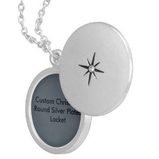 Custom Christmas Silver Plated Round Locket