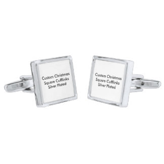 Custom Christmas Square Cufflinks, Silver Plated Silver Finish Cufflinks