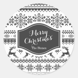 Custom Christmas sweater black fair isle pattern Classic Round Sticker