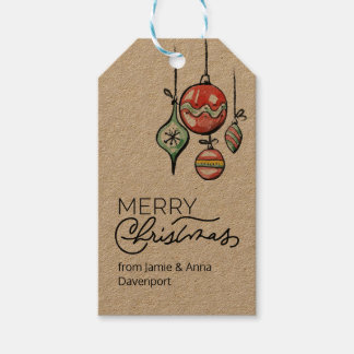 Custom Christmas Tag with Watercolor Ornaments