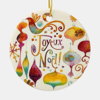CUSTOM CHRISTMAS TREE ROUND CERAMIC DECORATION