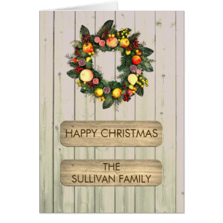 Custom Christmas Wreath and Rustic Wooden Panels Card