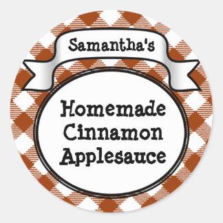 Custom Cinnamon / Applesauce Canning Jar Label Round Sticker