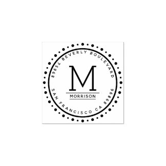Custom Circular Border | Monogram Return Address Rubber Stamp