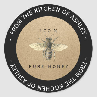 Custom Circular Homemade Honey Kitchen Kraft Bee Classic Round Sticker