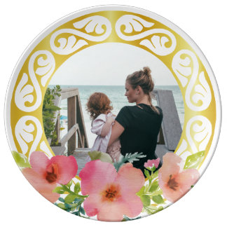 Custom circular photo frame and watercolor flowers plate