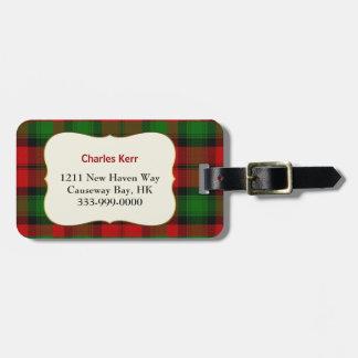 Custom Clan Kerr Tartan Plaid Luggage Tag