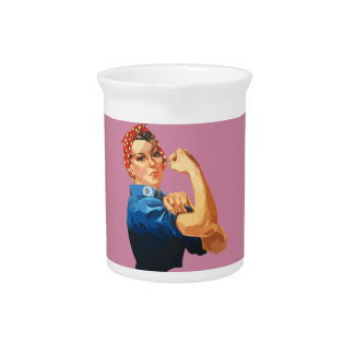 Custom Classic Rosie The Riveter Beverage Pitcher