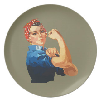 Custom Classic Rosie The Riveter Party Plates