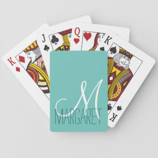 Custom Classic Soft Teal Monogram Playing Cards