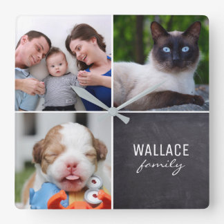 Custom Collage 4 Photos, Personalized, chalked Square Wall Clock