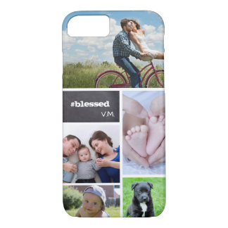Custom Collage 5 Photos, chalk letters iPhone 8/7 Case