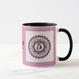 Custom color 5 year employment service award mug