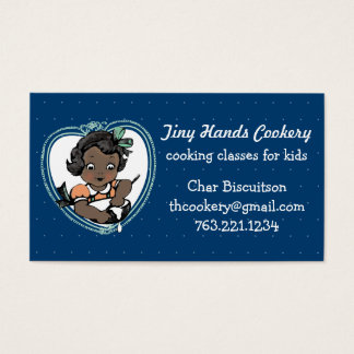Custom color African American girl kids cooking Business Card