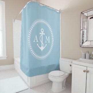 Custom Color and Monogram Ship Anchor Shower Curtain