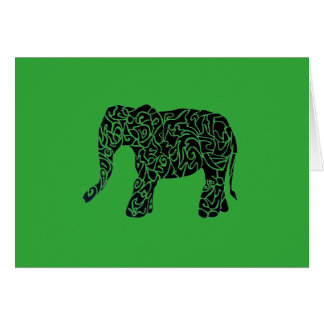 Custom Color aText Tribal Elephant Greeting Card