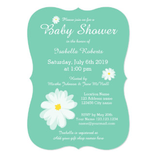 Custom color background baby shower invitations