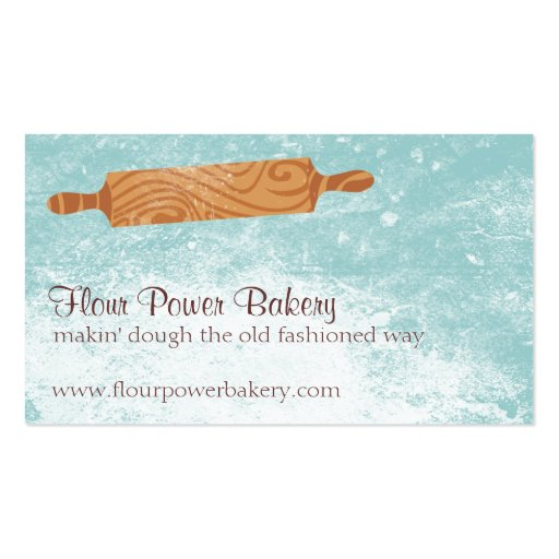 Custom color baking bakery rolling pin flour business card