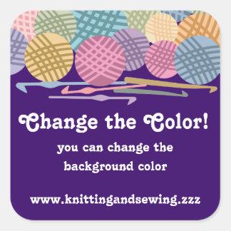 Custom color balls of yarn crochet hooks labels square stickers