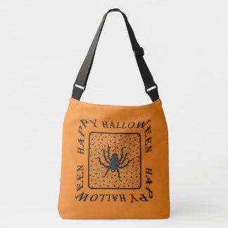 Custom Color BG - Black Spiders - Happy Halloween Crossbody Bag