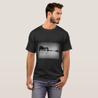 Custom Color Black Guitar Water Reflection T Shirt