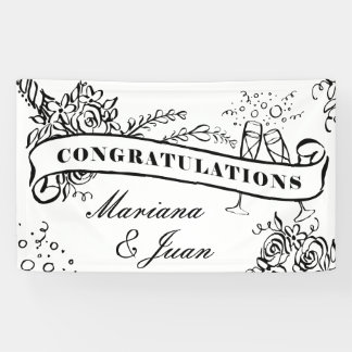 Custom Color Black & White Congratulations Banner