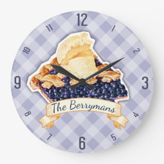 Custom color blueberry pie a la mode kitchen clock