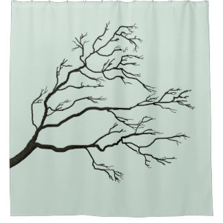 Custom Color Branching Tree Black BTIX Shower Curtain
